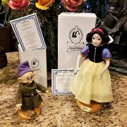 New Disney Snow White And Dopey Porcelain Doll Limited Edition With Coa's