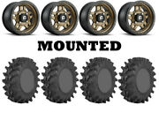 Kit 4 Sti Outback Max Tires 28x10-14 On Fuel Anza Bronze D583 Wheels Pol