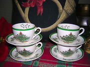 8 Piece Spode Christmas Tree 4 Cups And 4 Saucers Holiday Set Never Used England
