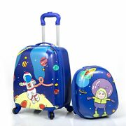 2pcs Kids Carry On Luggage Set Trolley Luggage 12 Backpack 16 Rolling Suitcase