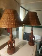 2 Vintage Hand Carved Wood 3 Elephant Table Lamp W/ Shade - Rare