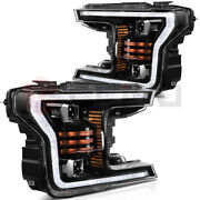 Replacement Fits 2018-up Ford F150 Headlights Headlamps Black Front Corner Pair