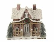 Snow Birch Bark Village House With Led Lights For Table Display Christmas