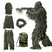 Ghillie Suit 3d Camouflage Hunting Apparel Including Jacket Pants Hood Carry