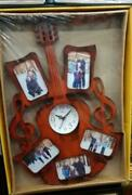 Wooden Guitar Shape Home Wall Decor Hanging Wall Clock Collectible Gift Forhome