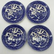 Vintage Blue Willow Dishes 4 Sandwich Plates 7andrdquo Made In Japan