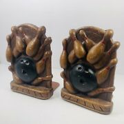 Vintage Syroco Wood Bookends Bowling Ball Pins Pressed Wood Art Sculpture Pair