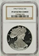 1996-p Proof American Silver Eagle 1 Ngc Pf69 Ultra Cameo 1799882-025