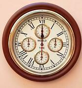 Nautical Vintage Wooden Look World Wall Clock Antique Style 16 Collectible