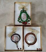 3 Vintage Christopher Radko Shiny Brite Enamel Picture Frames And Earrings W Boxes
