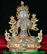 8.8old Nepal Natural Crystal Wire Inlay Gem Turquoise Green Tara Buddha Statue