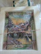 Thomas Kinkade Stained Glass Wall Clock Panel Time For All Seasons Winter