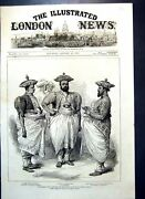 Antique Old Print Cinghalese Chiefs Waiting Wales Kandy Ceylon 1876 19th