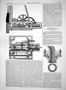 Antique Old Print 1865 Condensing Locomotives Machinery Water Boilers Trains