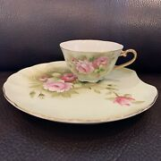 Lefton China Hand Painted Heritage Green Snack Plate And Cup Floral Pre Owned ..