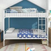 Twin-over-twin Bunk Bed With Metal Frame And Ladder, Space-saving Design, White