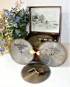 Antique Disc Playing Music Box By Polyphon + 10 Boxed Discs C1880ssee Video