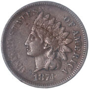 1874 Indian Head Cent Extra Fine Penny Xf See Pics J302