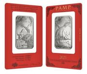 2021 - 1 Oz Pamp Suisse Year Of The Ox Platinum Bar In Assay .9995