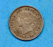 Canada 1886 Large 6 5 Cents Five Cent Small Silver Coin - Vf