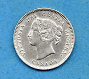Canada 1900 Oval '00' 5 Cents Five Cent Small Silver Coin - Vf/ef