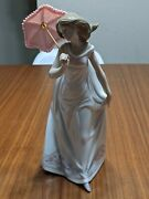 Lladro 7636 Afternoon Promenade, Retired Society Piece, Lady With Parasol