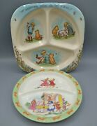 Vintage Mixed Lot 2 Divided Child Kid Plate Classic Pooh Peter Rabbit Melamine