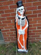 Vintage Union Products Halloween Blow Mold Skeleton With Tombstone