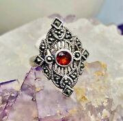 Vintage Garnet And Marcasite Ring Set In Solid Sterling Silver Ring Size 6