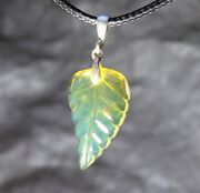 Dominican Hand Carved Clear Green Blue Amber .925 Sterling Silver Pendant 39mm