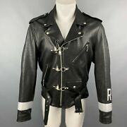 R13 Ss19 Size M Black Leather Brooklyn Usa Biker Belted Motocycle Jacket