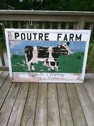 Authentic Original Cow Dairy Farm Wood Sign Painted Rustic Barn