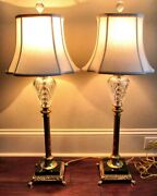 2 Irish Waterford Marlow Regency Cut Crystal, Gilt And Marble Table Lamps