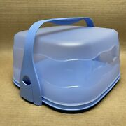 Tupperware Square Cake Taker Impressions Carrier Handle Blue 5446 New