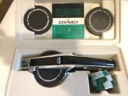 Vintage Dymo Tapewriter Label Maker 1550 Chrome W/ Case And Extra Labels