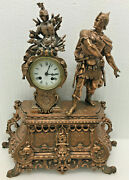 Large Antique French Japy Freres Roman Soldier Statue Mantel Clock