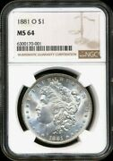 1881-o Morgan Ngc Ms-64 Mostly White Rare Silver Dollar Coin New Orleans Mint Bu