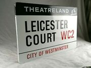 Original 1960s London Street Sign - Leicester Court Wc2 - City Of Westminster
