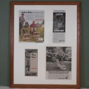 Vintage Lawn Boy 1950's Lawnmower Collage Advertising Ads Framed 26 X 32 Mower
