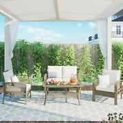 4 Piece Rattan Sofa Seating Group With Cushions, Outdoor Ratten Sofa, Beige