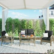 4 Piece Rattan Sofa Seating Group With Cushions, Outdoor Ratten Sofa, Gray
