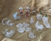 Vintage Spun Glass Christmas Ornaments Lot Of 16 Baby Piano Ark Light Posts Bell