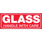 1 1/2 X 4 Glass - Handle With Care Labels Red/white 5000 Pcs