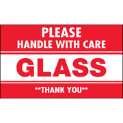 3 X 5 Glass Please Handle With Care Labels Red/white 5000 Pcs