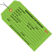 4 3/4 X 2 3/8 And039repairable/reworkand039 Inspection Tags Prewired Green -10000 Pcs