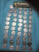 Roosevelt Dimes 1946 – 1964 Some Toned 90 Silver 2 5 Rolls, Lot Of 101 Coins