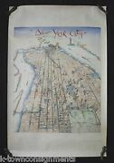 New York City Manhattan World Trade Twin Towers Vintage Poster Art By Cober 1985