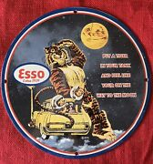 Vintage Style 1959 Esso Gas Station Sign With Esso Tiger Porcelain 12 Inch Round