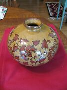 Gorgeous Stoneware Floral Vase In Tan And Rust - No Makers Mark - Heavy