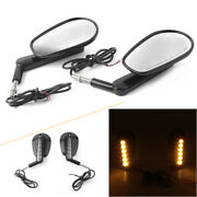 2x Rear View Side Mirrors W/led Front Turn Signals For Harley Vrod Vrscf 2009-17